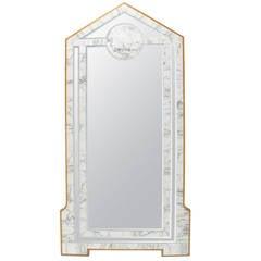 Modern Marble and Wood Frame Floor Mirror