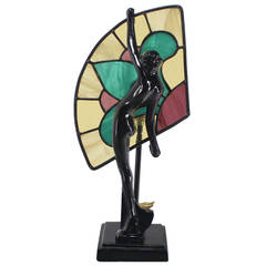 Art Deco Nouveau Style Nude Stained Glass Table Lamp