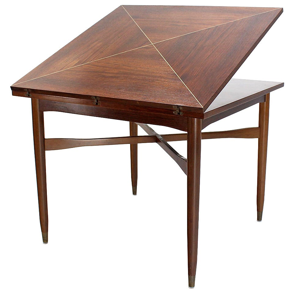 Walnut-Top with Brass Inlay, Mid-Century Modern Expandable Game Table