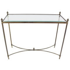 Brass Base Glass Top Console or Sofa Table