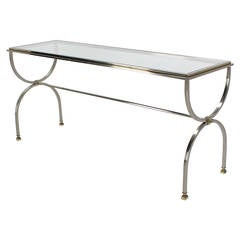 Chrome Brass and Glass Top Console Sofa Table