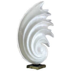 White Molded Acryilic Mid-Century Modern Sculptural Table Lamp