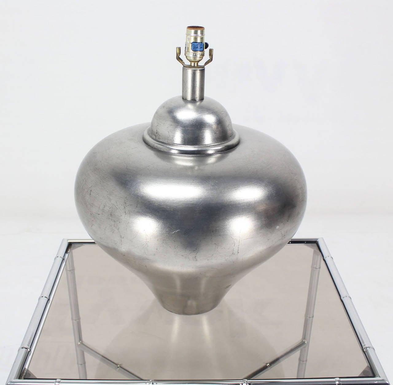 Mid century modern silver gilt round base table lamp for sale at mid century modern silver gilt round base table lamp 2 geotapseo Choice Image