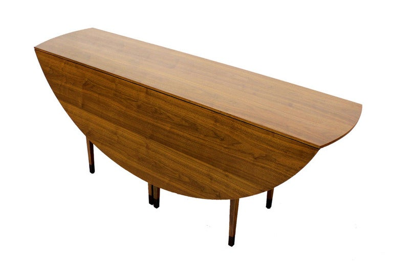 Large mid century modern walnut drop leaf table by dunbar for Large drop leaf dining room tables