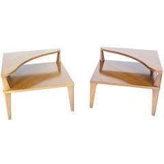 Pair of Mid-Century Modern Step End Corner End Tables Stands by John Stuart