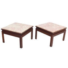 Mid-Century Modern Pair of Marble-Top Low End Tables