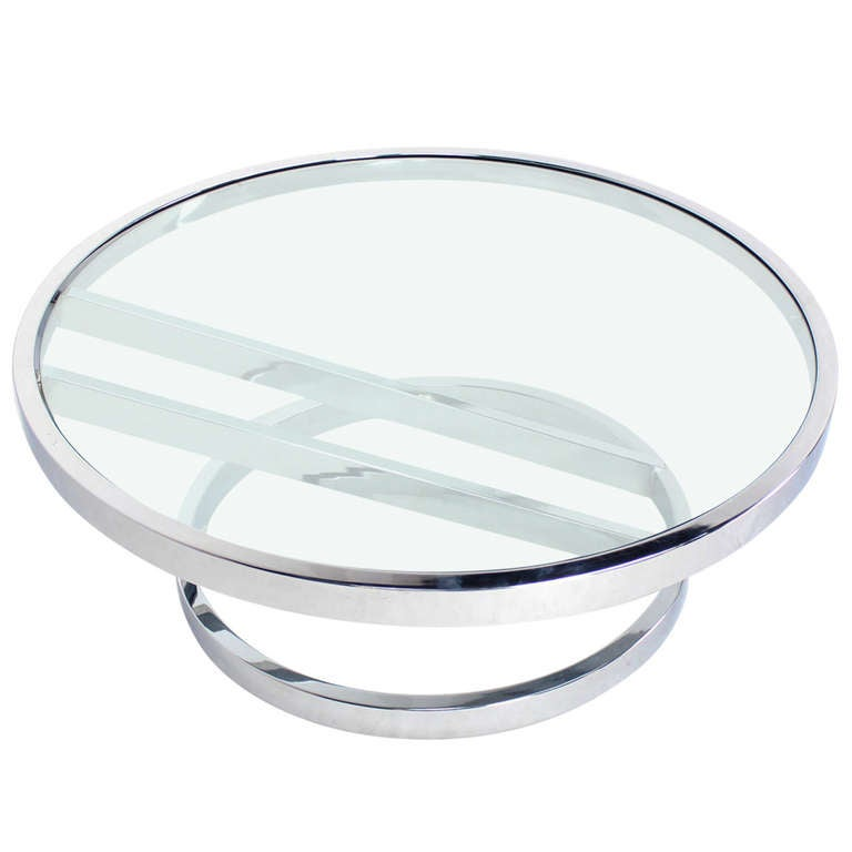 Modern Chrome And Glass Round Coffee Table By Baughman At 1stdibs