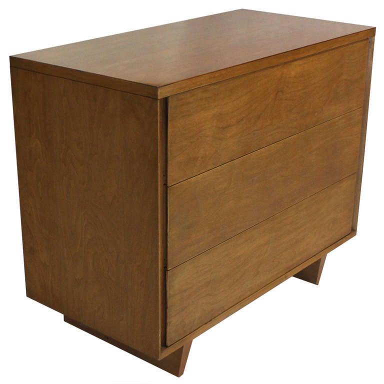 Mid-Century Modern Walnut, Bachelor Three-Drawer Chest or Dresser