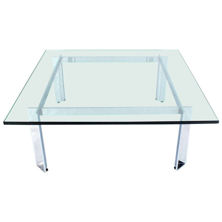 Square Mid-Century Modern Chrome And Glass Coffee Table At