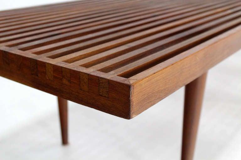 Delightful Mid Century Modern Slat Bench Part - 9: Mid Century Danish Modern Extra Long Slat Bench 3