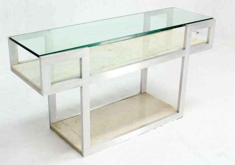Mid century modern console display table with marble for Display table