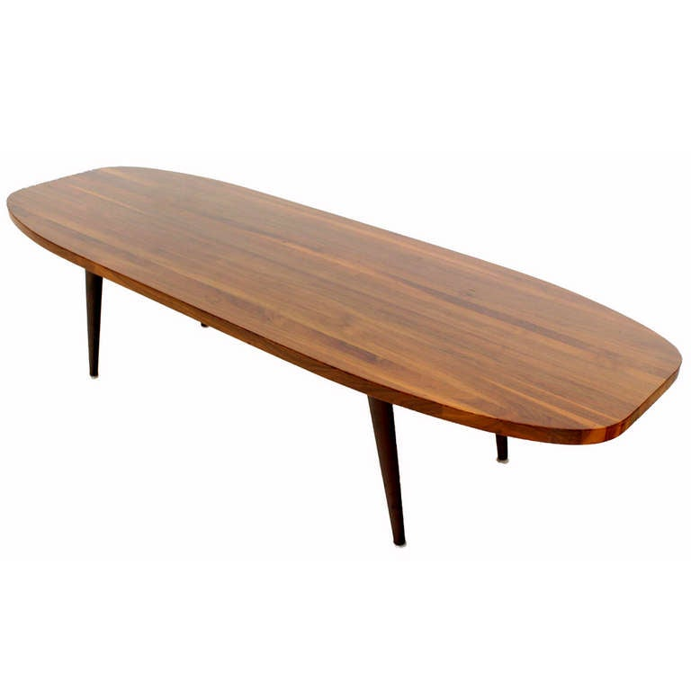 Mid century modern solid walnut surfboard coffee table Vogue coffee table