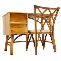 Mid Century Modern Bamboo and Solid Maple Small Desk Matching Chair