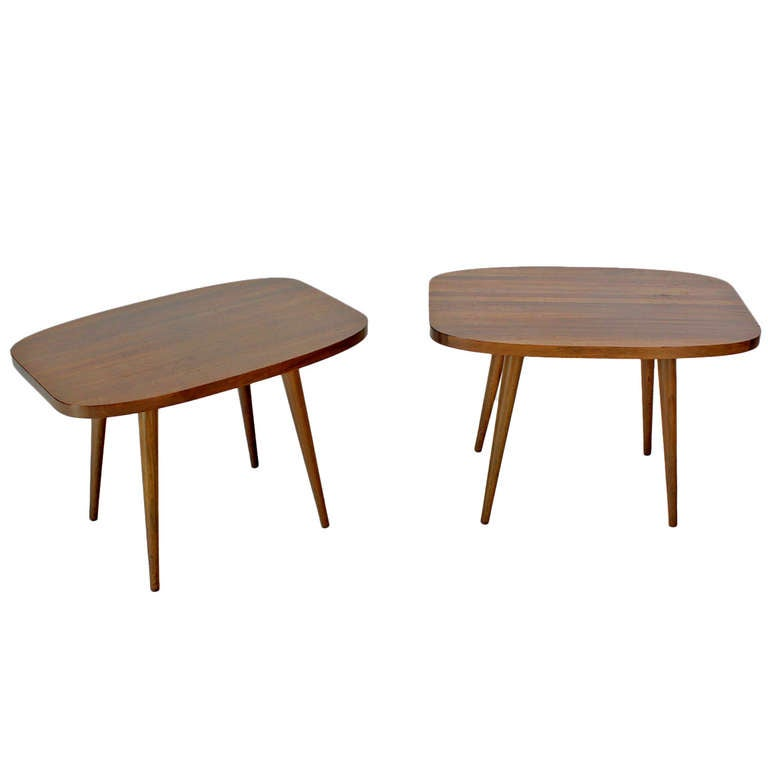 Pair of Mid-Century Modern Solid Walnut End Tables.