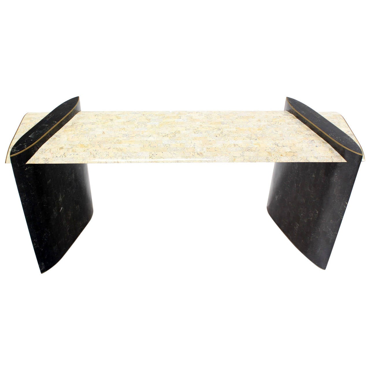 Mid Century Modern Maitland Smith Tessellated Tile Stone Console Table