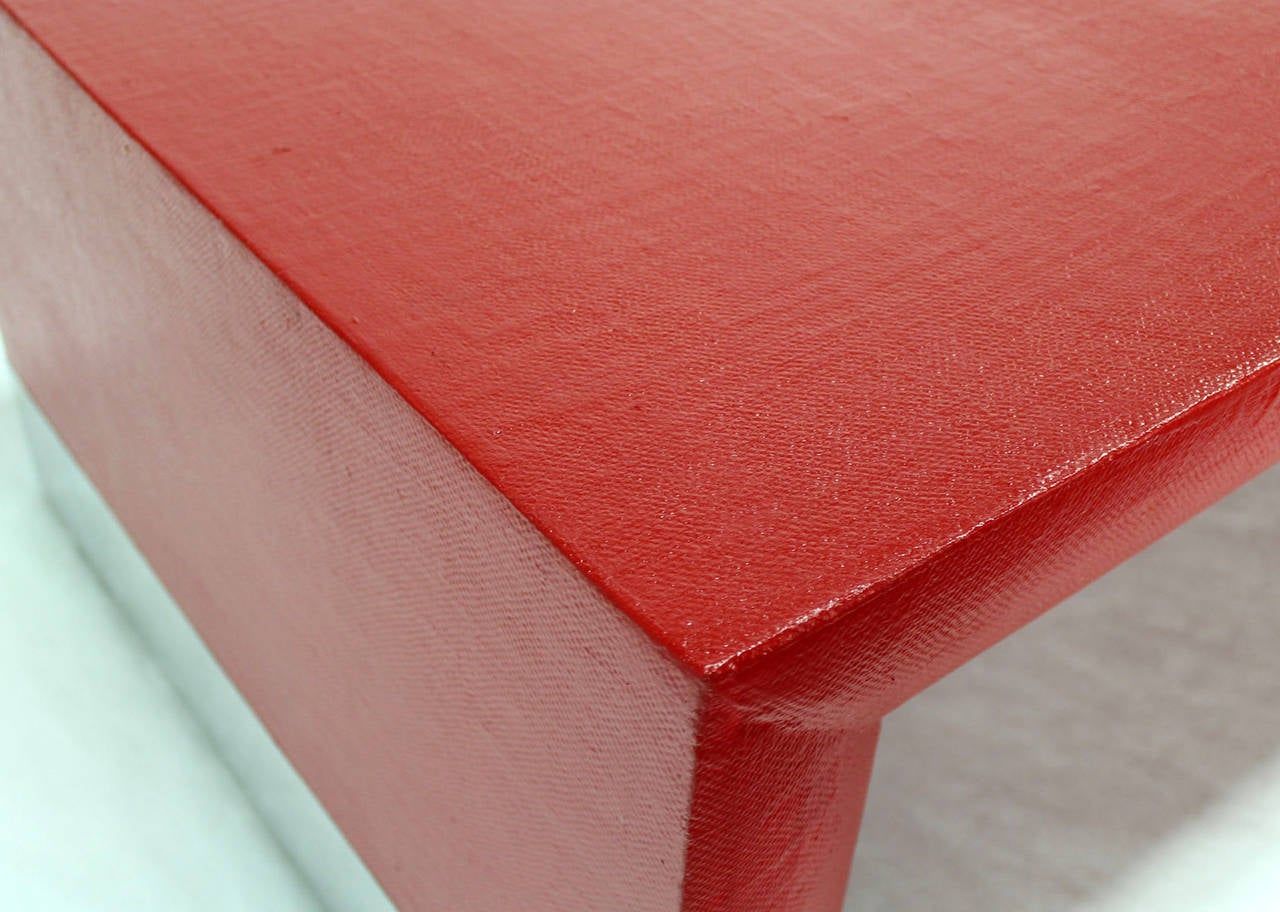 Large Rectangle Grass Cloth Mid Century Modern Coffee Table In Fire Red For Sale At 1stdibs