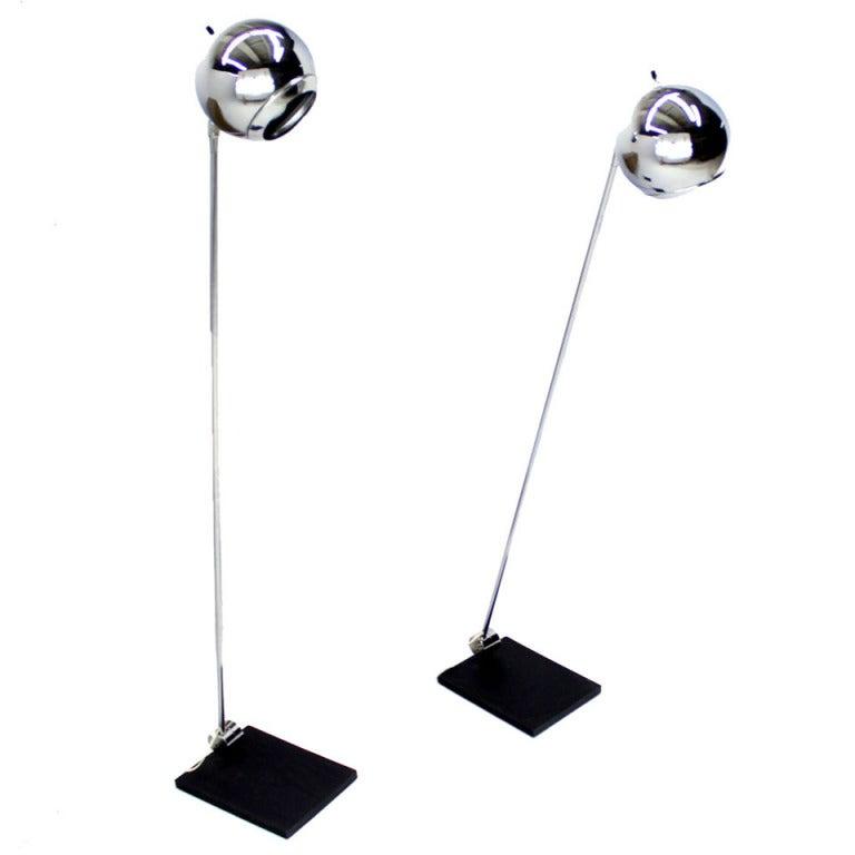 Pair of Robert Sonneman Adjustable Floor Lamps for Kovacs Mid Century Modern