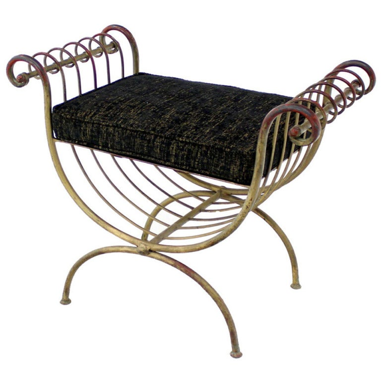 Hollywood regency mid century wrought iron decorative window bench at 1stdibs Decorative benches