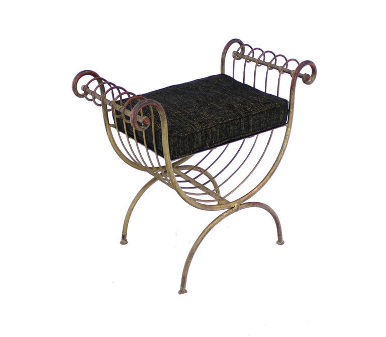 U Shape Midcentury Wrought Gilt Iron Window Bench New Upholstery For Sale At 1stdibs