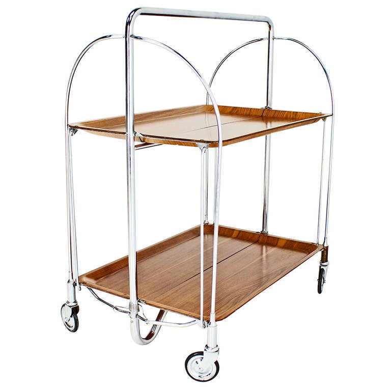 Mid-Century Modern Folding Tea Cart in Chrome and Molded ...