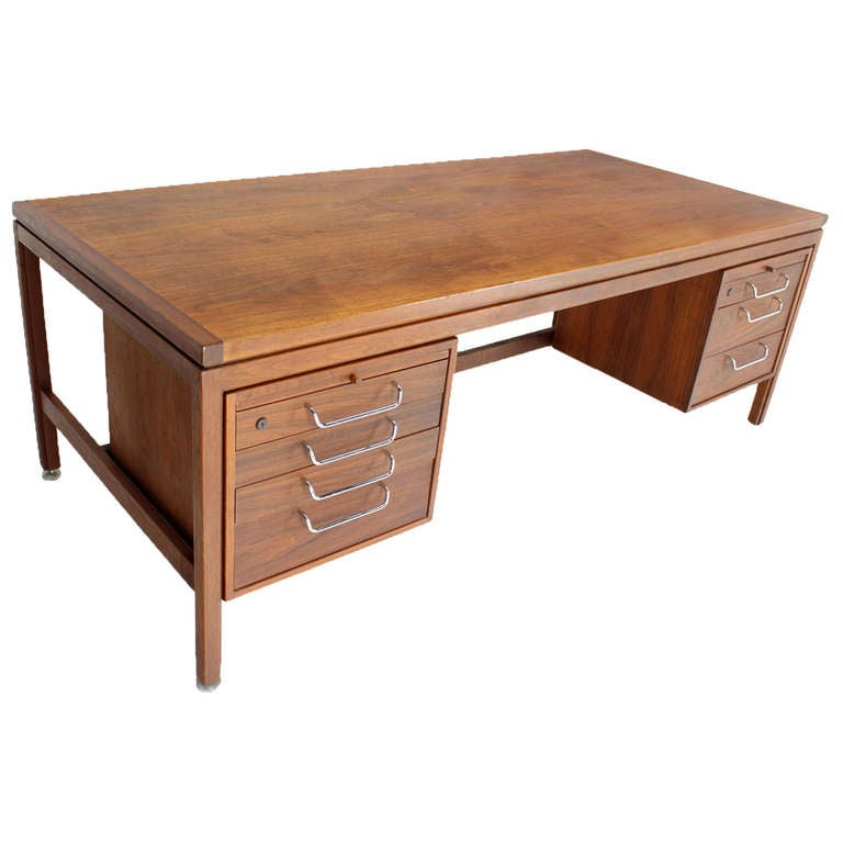 Jens Risom Oiled Walnut Mid Century Modern Executive Desk