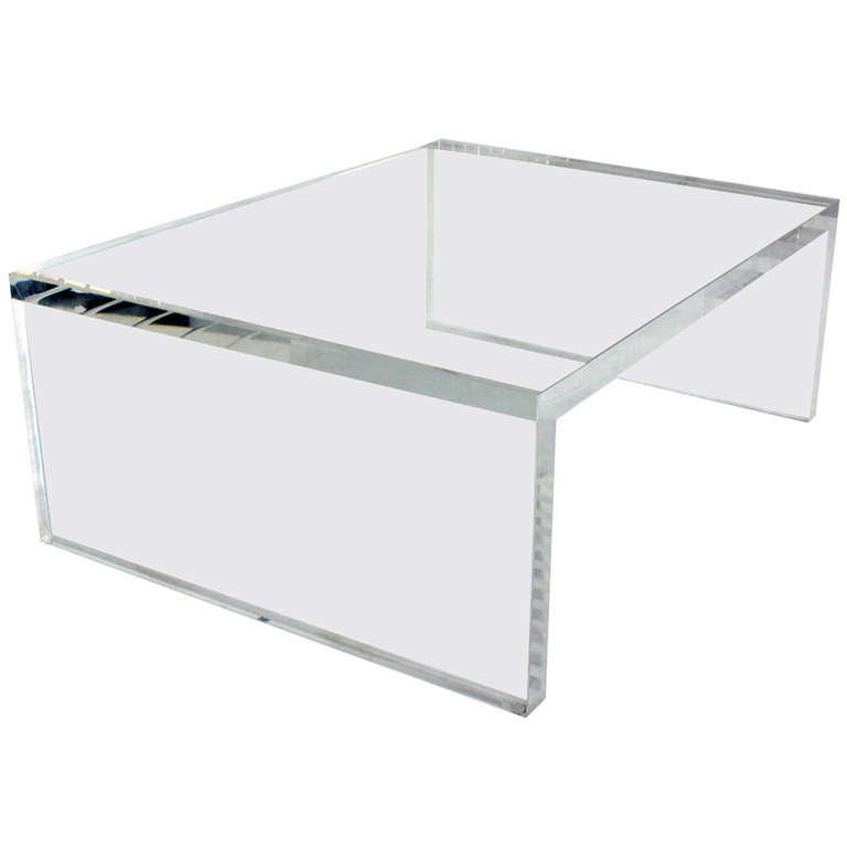 """Charles Modern 47 Square Glass Top Coffee Table W: 2"""" Thick Lucite Mid Century Modern Coffee Table At 1stdibs"""