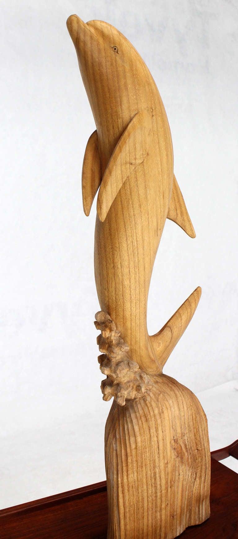 Greatest Tall Carved Teak Dolphin Sculpture at 1stdibs KZ34