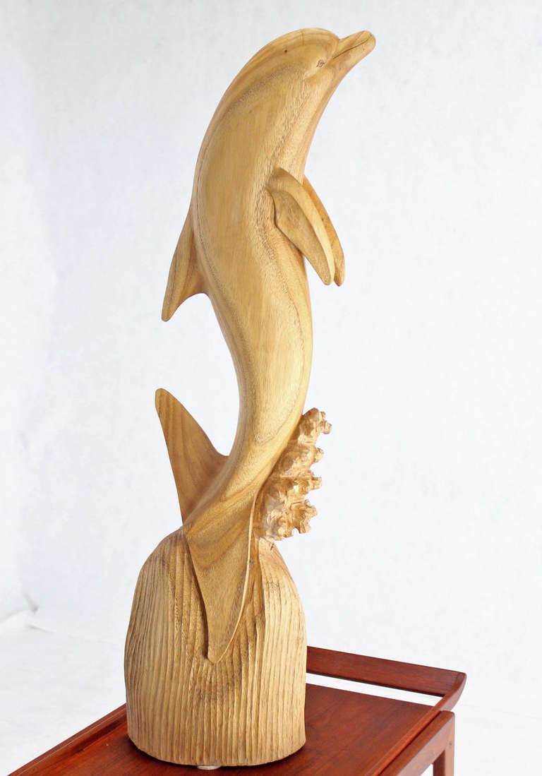 Top Tall Carved Teak Dolphin Sculpture at 1stdibs QY15