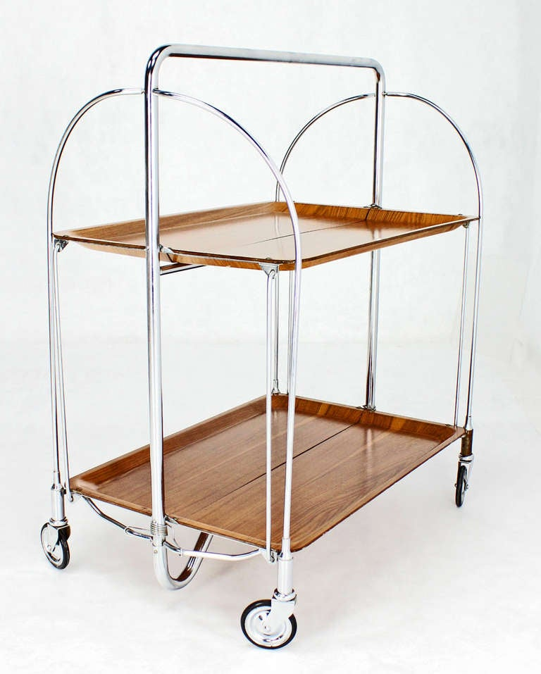 Very Nice Molded Plywood And Chrome Folding Tea Cart. Made In USSR.