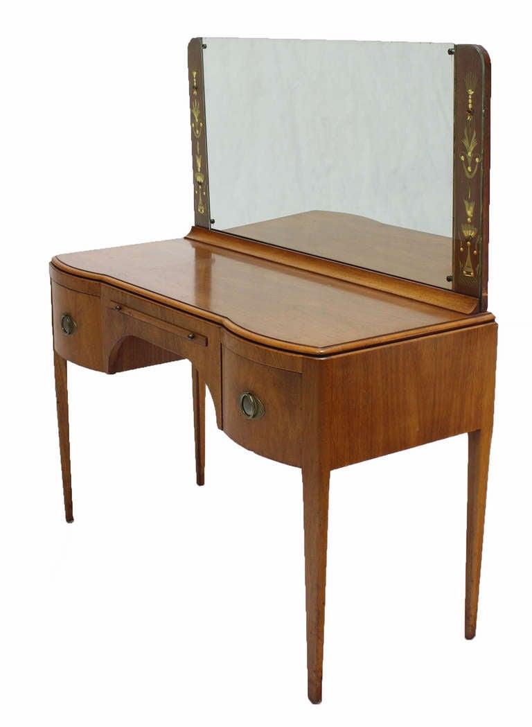 Mid century art deco walnut vanity dressing table image 3 for Walnut dressing table