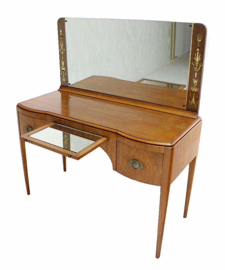 Mid century art deco walnut vanity dressing table at 1stdibs for Walnut dressing table