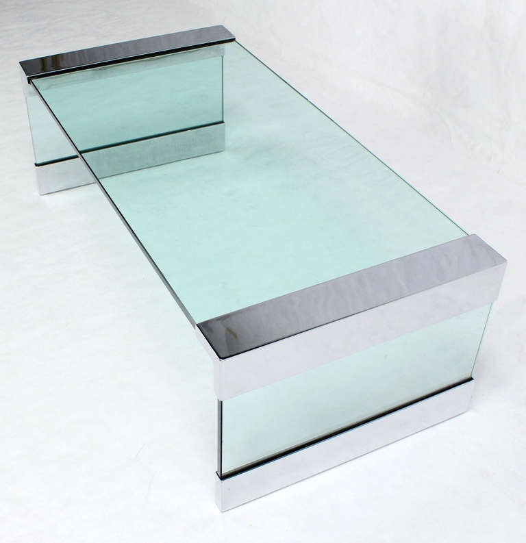 Mid Century Modern 3 4 Thick Glass And Chrome Coffee Table At 1stdibs