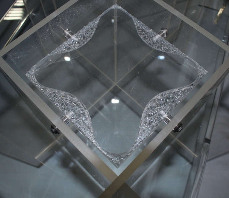 Mid-Century Modern Long, Rectangular Lucite And Glass