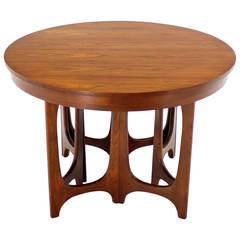 Mid-Century Modern Walnut Round Dining Table