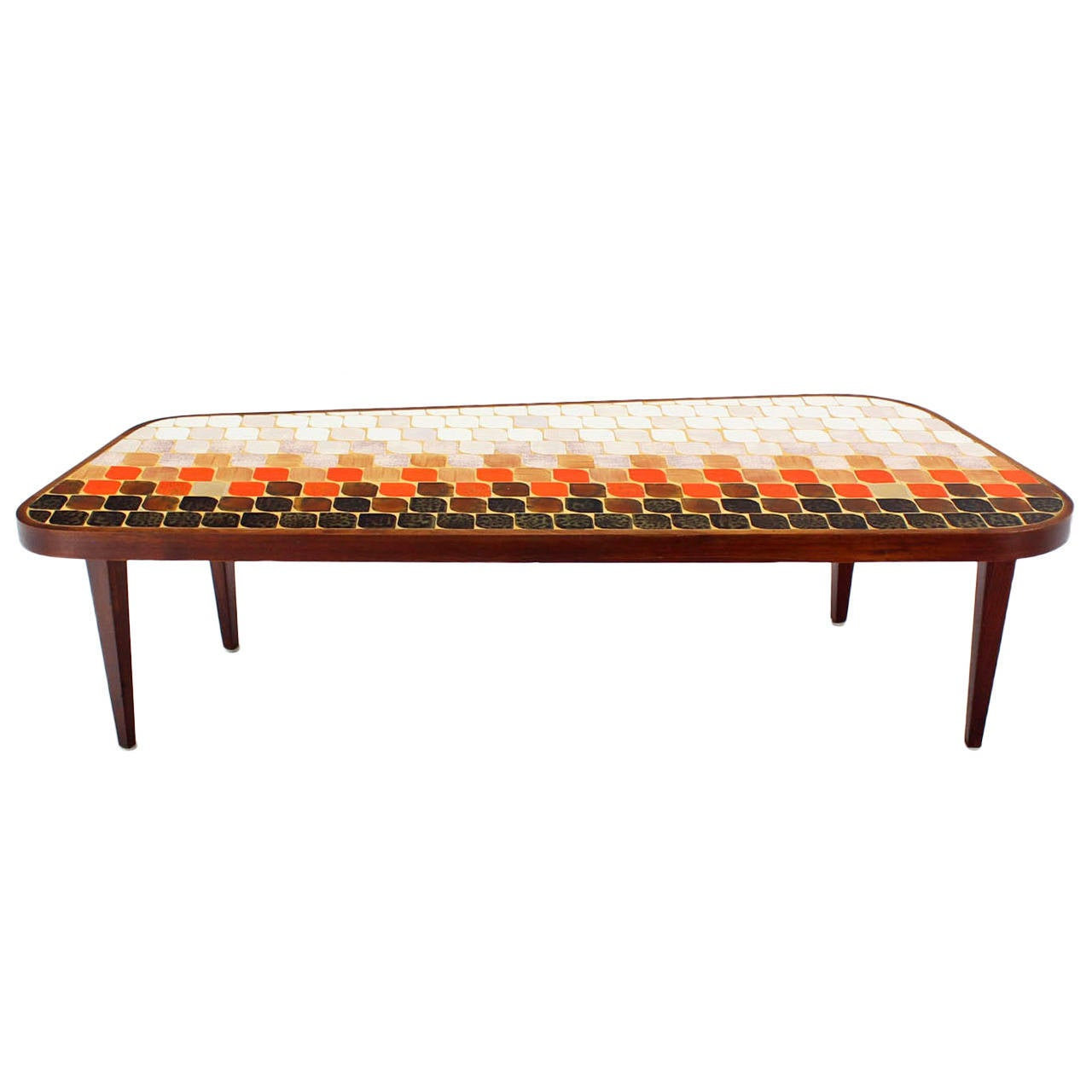 Mid Century Modern Organic Shape Coffee Table With Tile Mosaic Top At 1stdibs