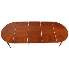 Erno Fabry Mid-Century Modern Round Walnut Dining Table with Three Leaves