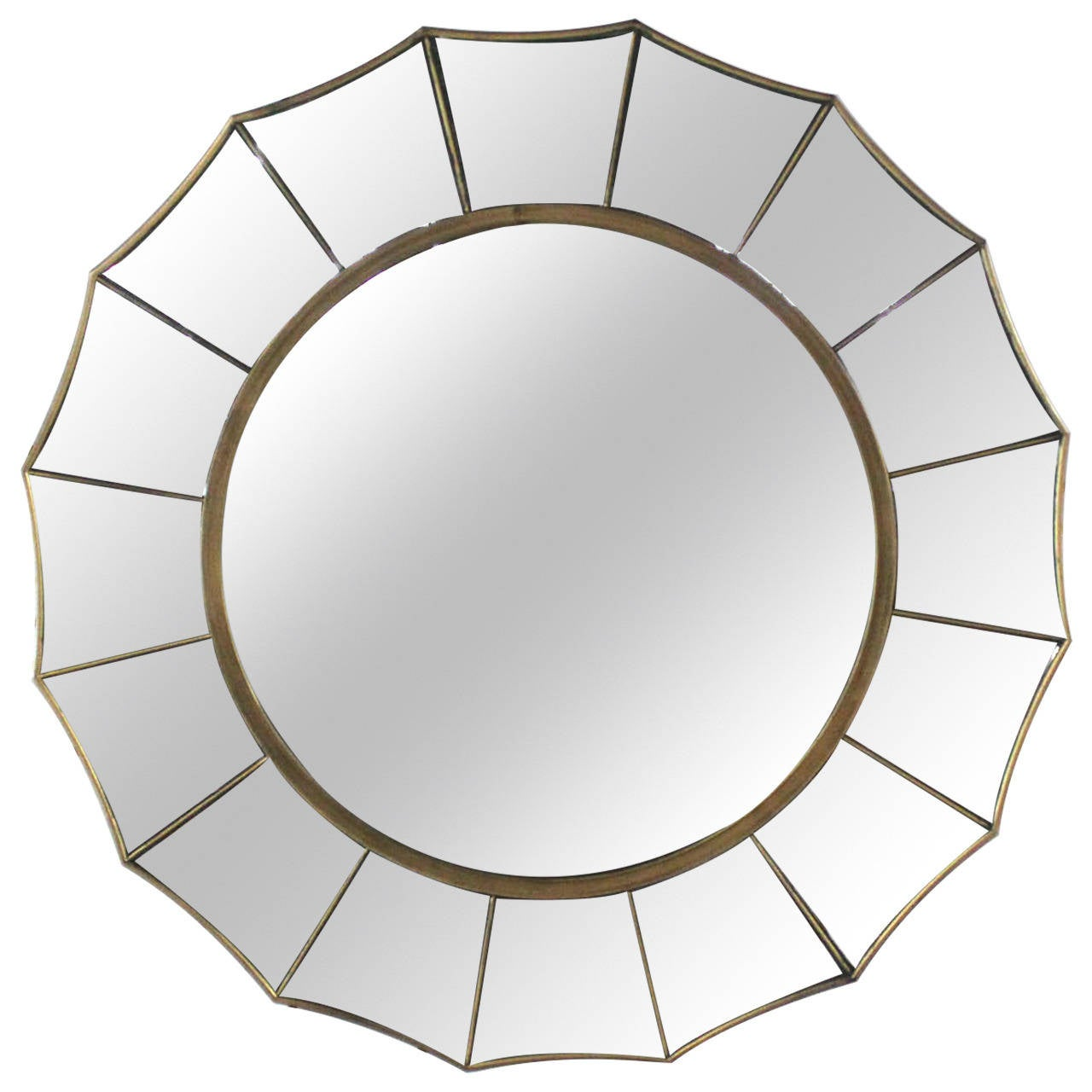 Mid century modern sunburst scalloped edge round wall Modern round mirror