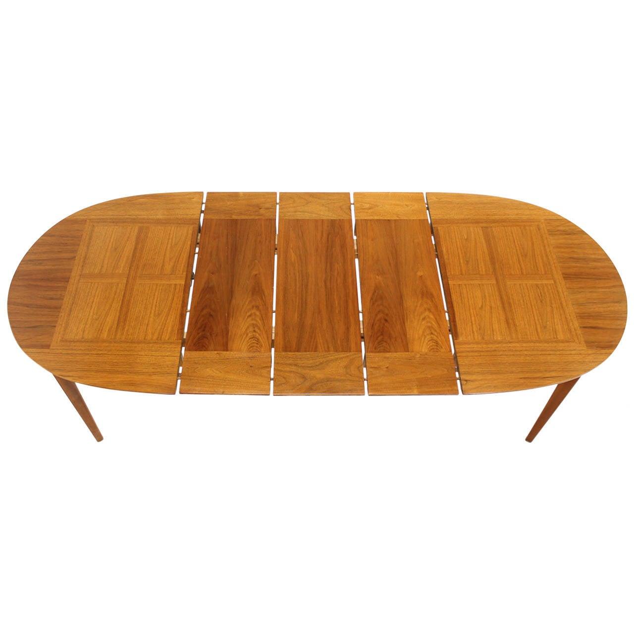 Mid Century Modern Walnut Oval Dining Table with Three  : 1465742l from www.1stdibs.com size 1280 x 1280 jpeg 89kB