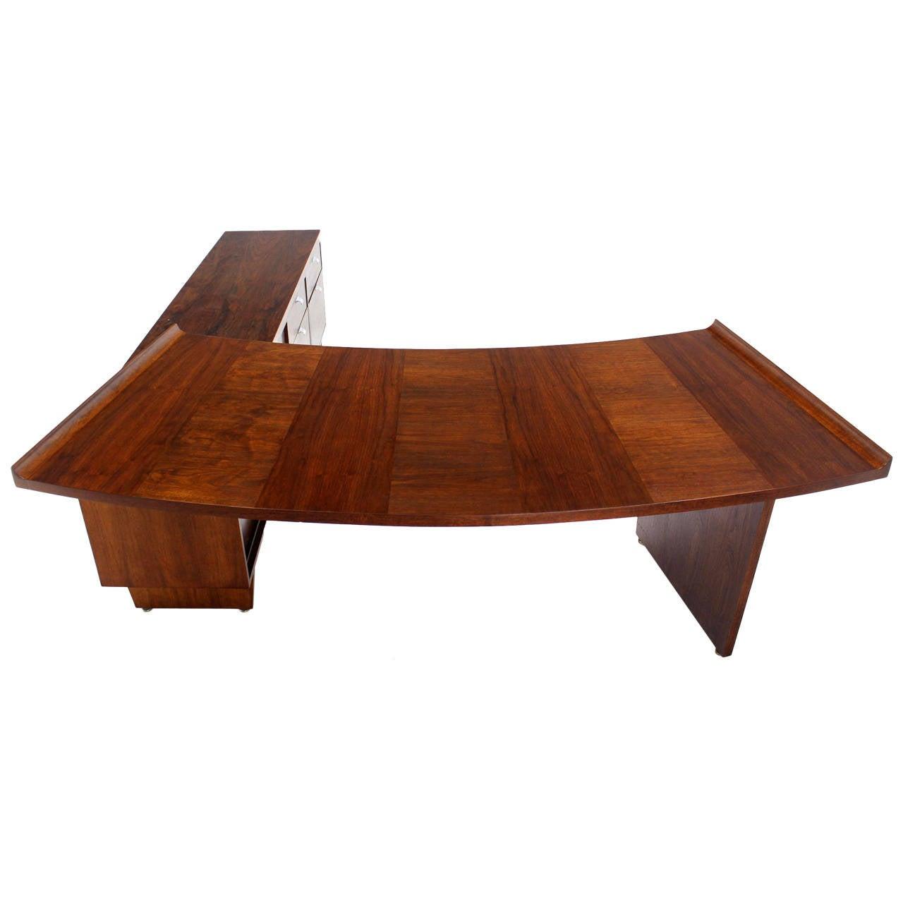 Executive Mid Century Modern Walnut L Shape Desk