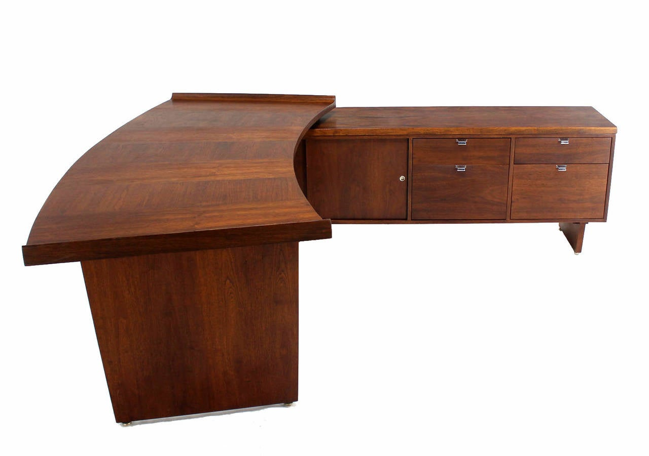 Executive Mid Century Modern Walnut L Shape Desk With Return Image 6. Full resolution‎  picture, nominally Width 1280 Height 901 pixels, picture with #451B0C.