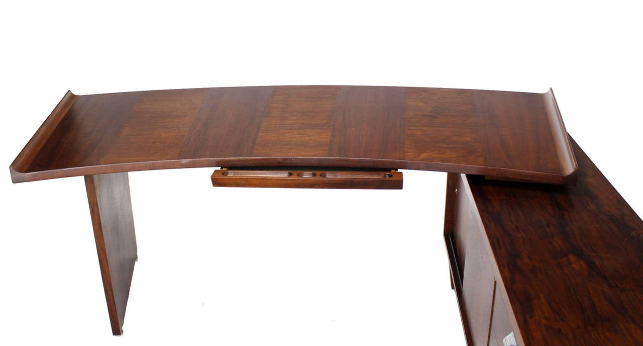 Large Executive Mid Century Modern Walnut L Shape Desk With Return For 5