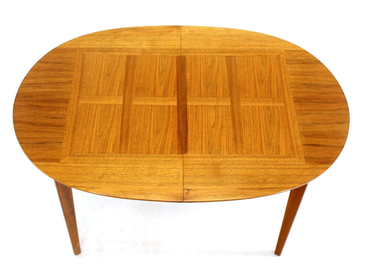 Mid Century Modern Walnut Oval Dining Table With Three Leaves Image 2