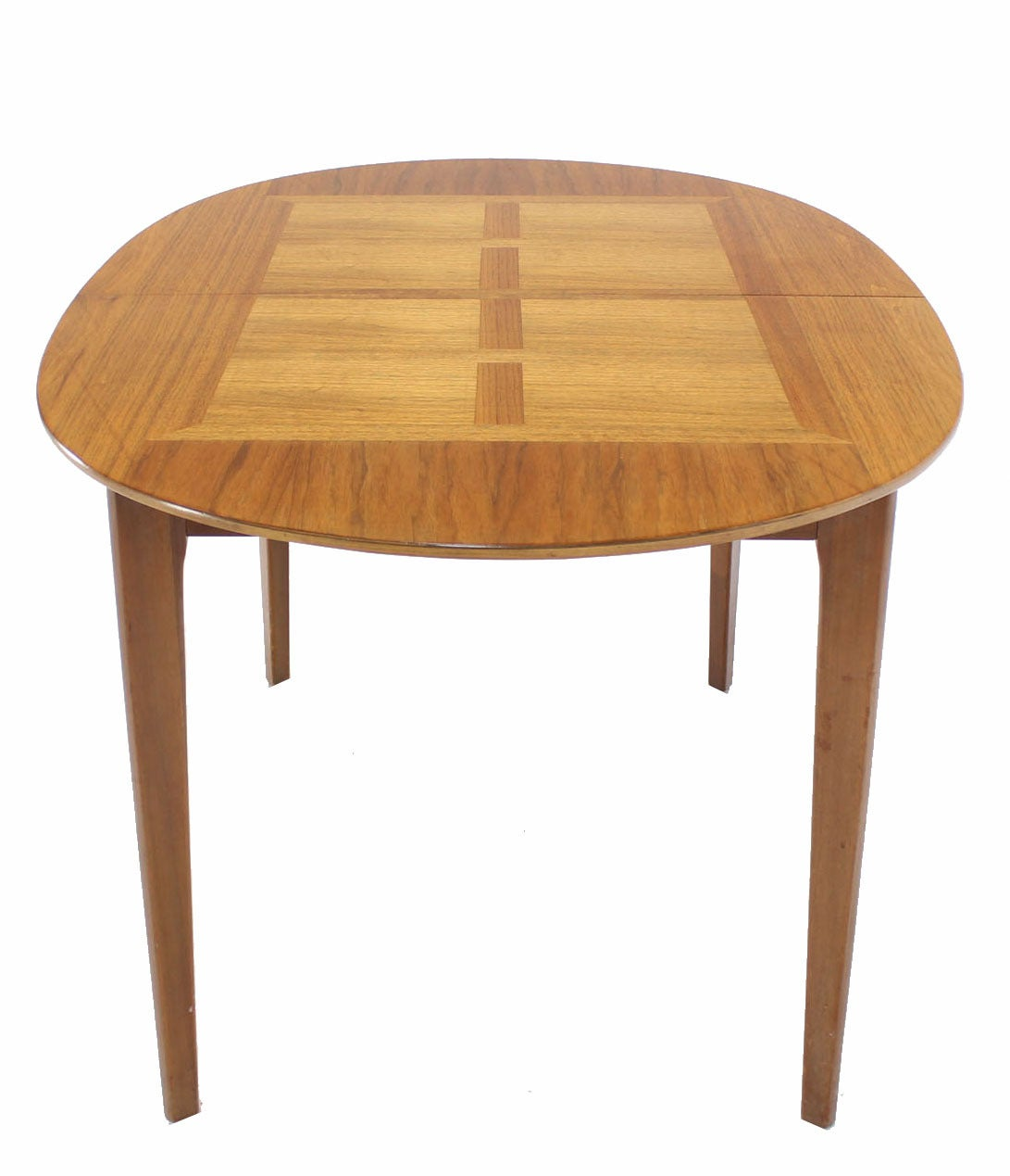 Mid century modern walnut oval dining table with three for Dining room tables with leaves