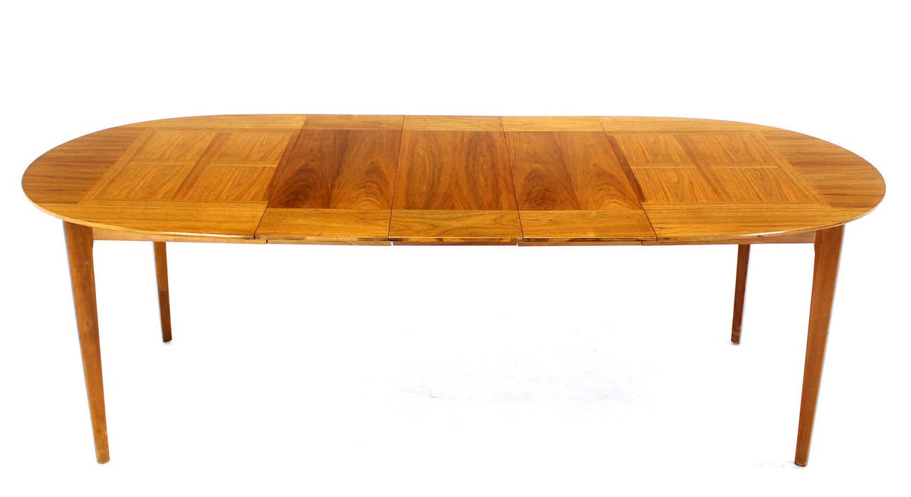 mid century modern walnut oval dining table with three. Black Bedroom Furniture Sets. Home Design Ideas