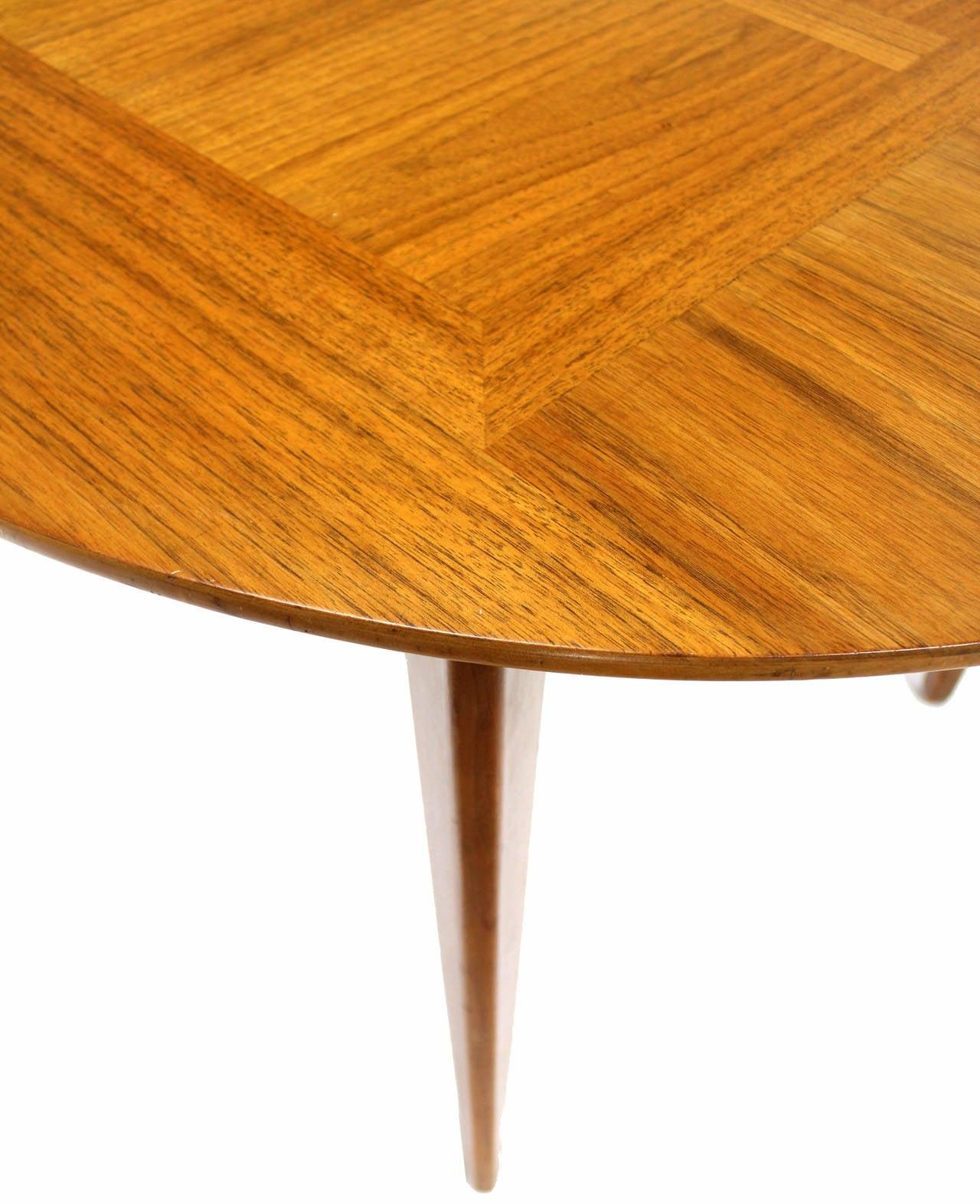 very nice walnut wood grain mid century modern dining table with 3 12