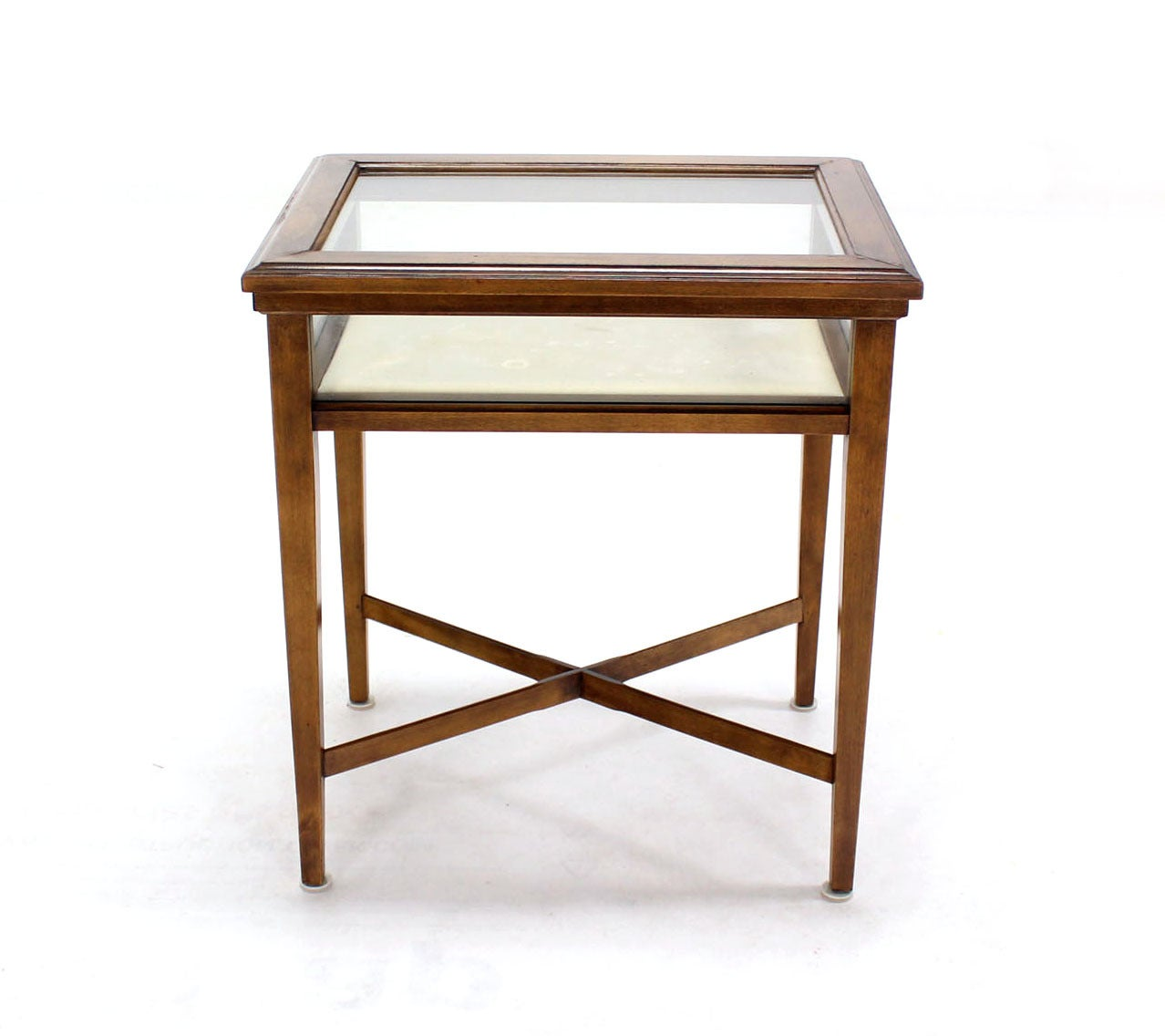 Very Impressive portraiture of Pair of Glass and Wood Lift Top Cross Base End Tables at 1stdibs with #442315 color and 1278x1136 pixels