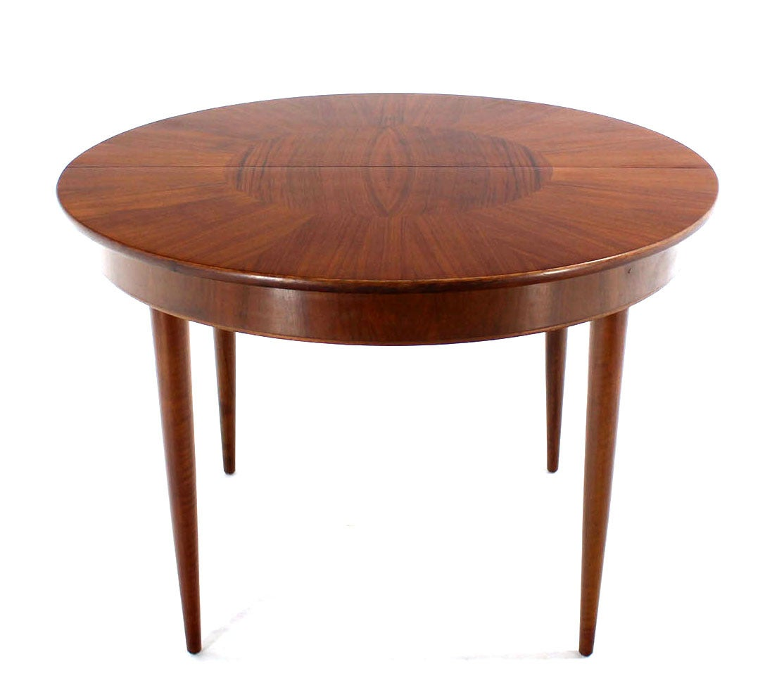 erno fabry mid century modern round walnut dining table with three leaves at 1stdibs. Black Bedroom Furniture Sets. Home Design Ideas