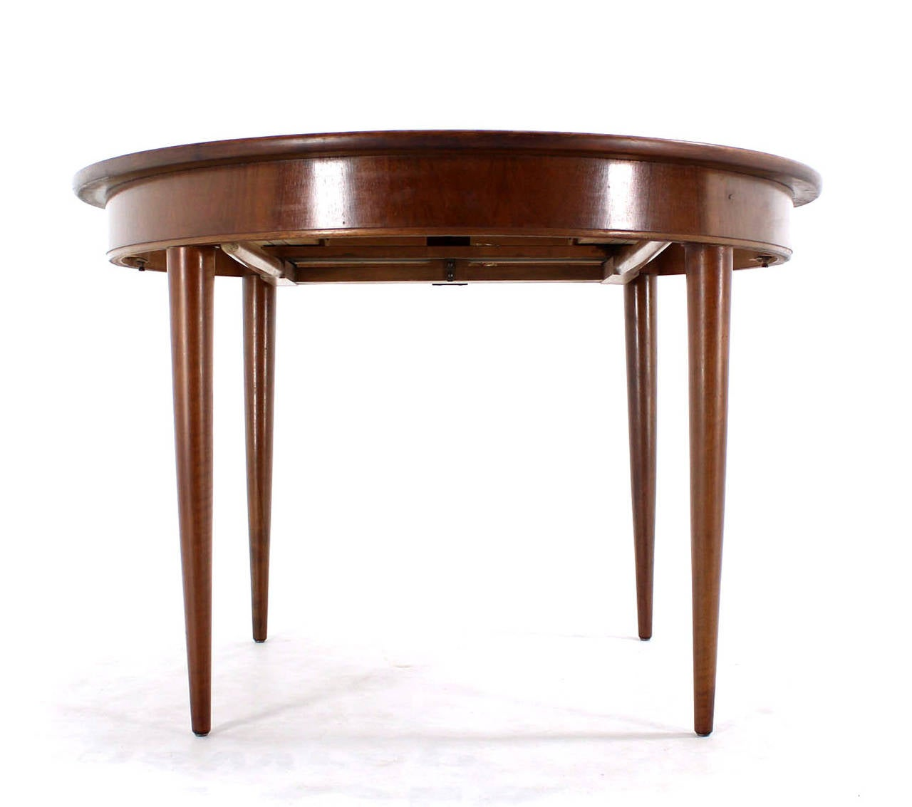 Mid Century Modern Round Walnut Dining Table With Three Leaves Image 6