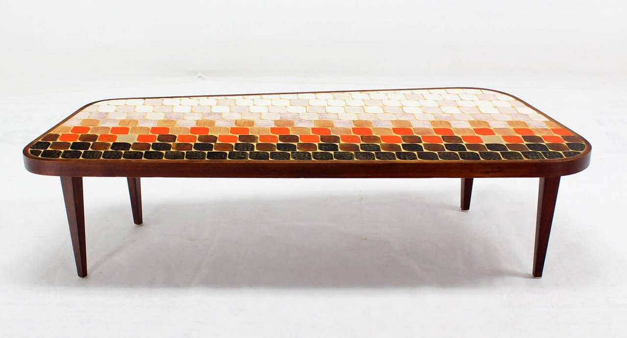 Mid Century Modern Organic Shape Coffee Table With Tile Mosaic Top 2