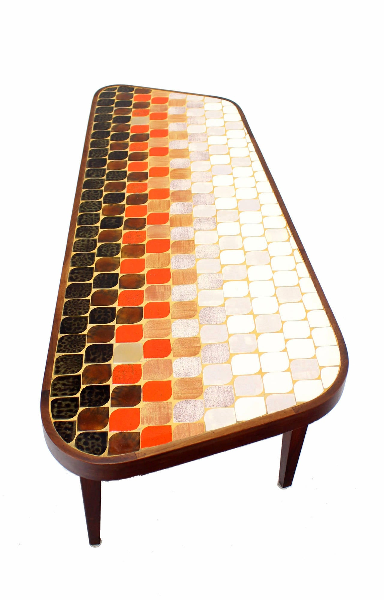Mid Century Modern Organic Shape Coffee Table With Tile